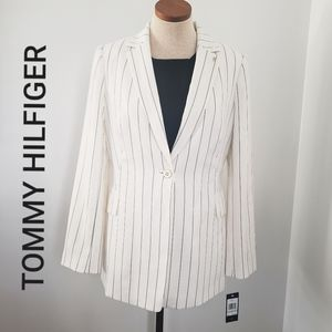 Tommy Hilfiger Women's one button striped Jacket